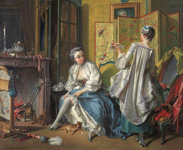 François Boucher: Junge Dame beim Ankleiden des Stumpfbandes, 1742