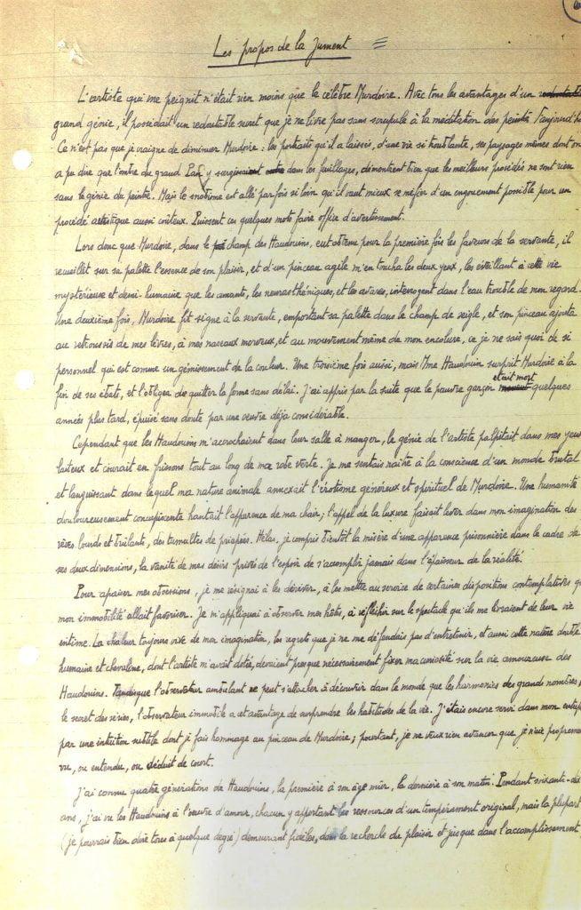 Manuscrit Marcel Aymé