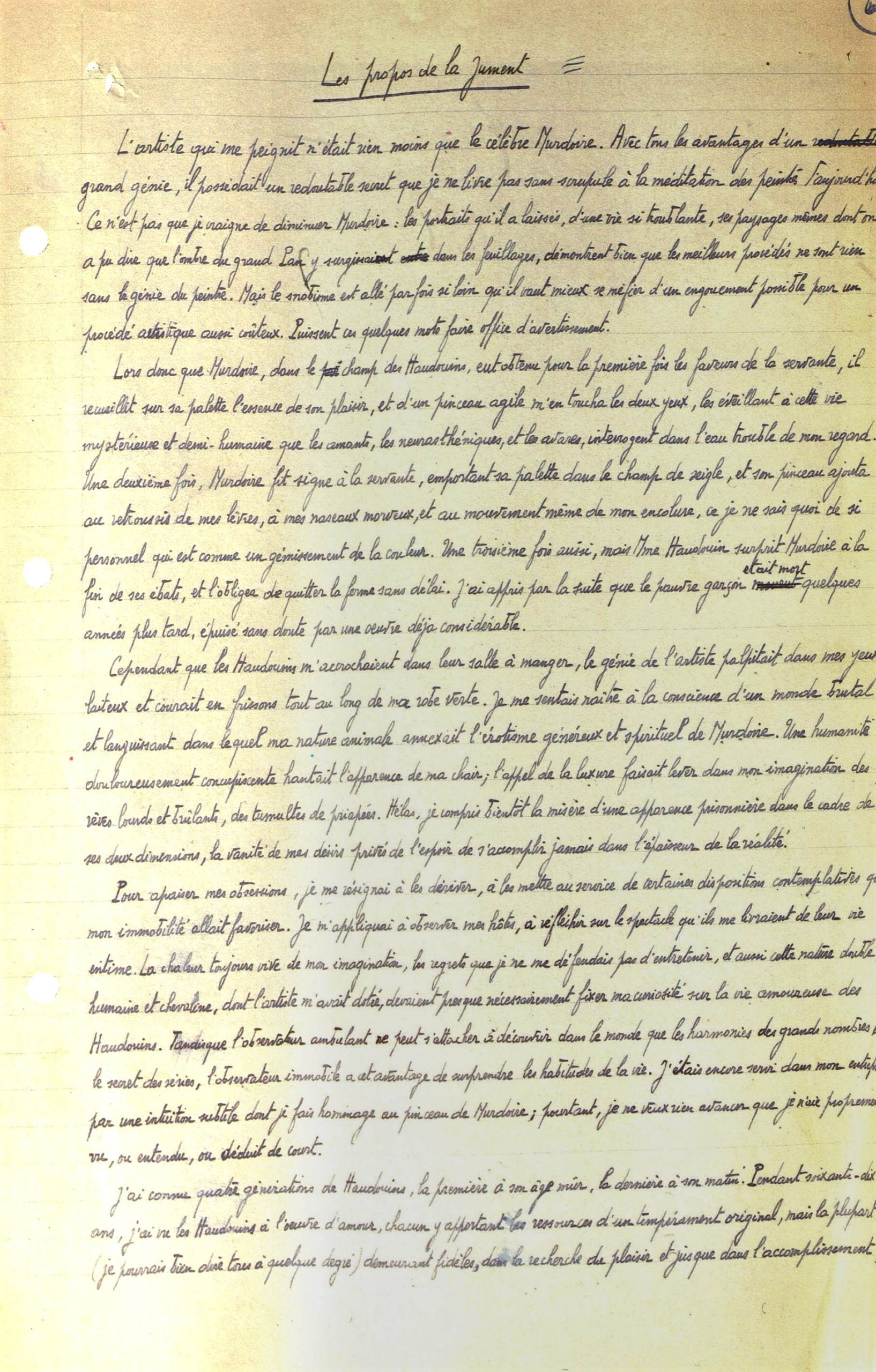 Manuscrit de Marcel Aymé