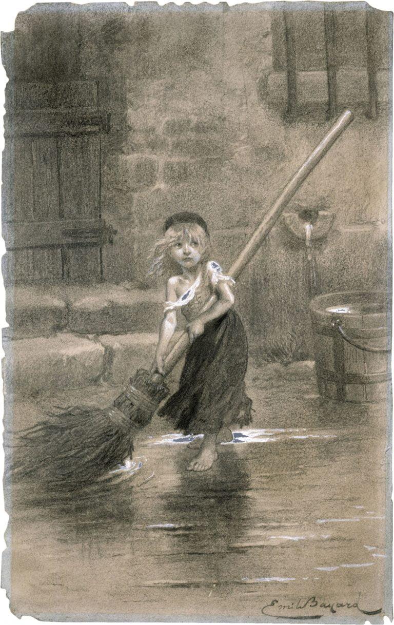 Cosette balayant, illustration pour Les Misérables, Emile bayard, 1862