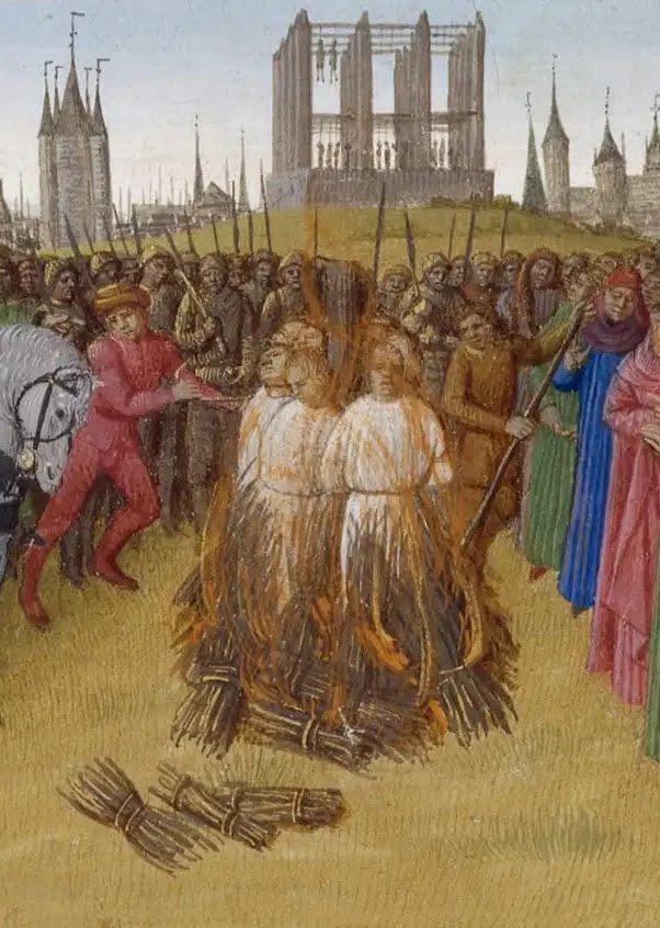 Gibet de Montfaucon, Grandes Chroniques de France, ill. de Jean Fouquet. Vers 1460.