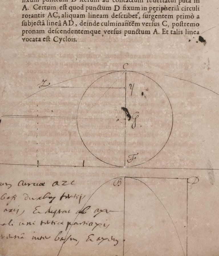Parabole et cycloïde de la main de Pascal (détail)
