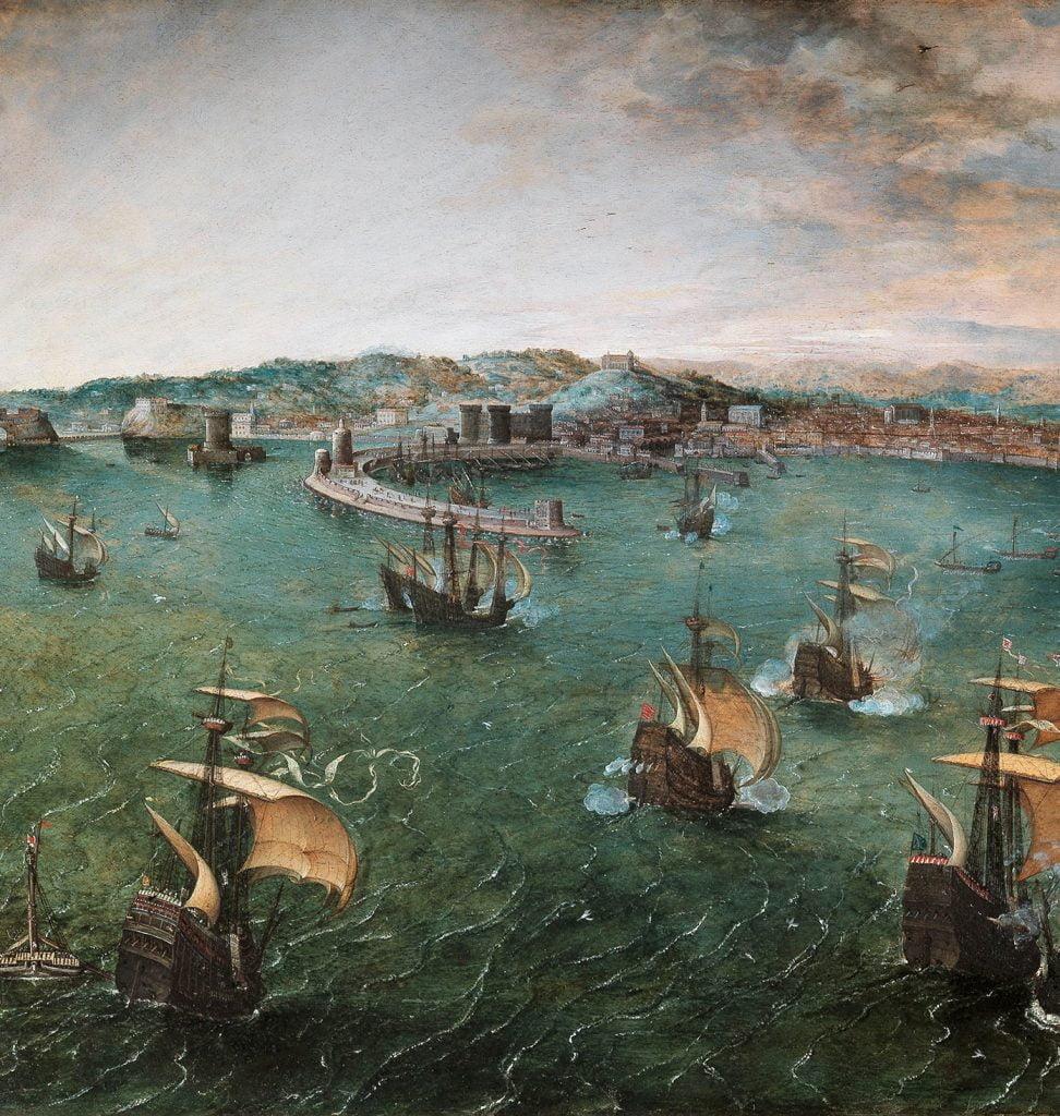 Vue de la baie de Naples, Pieter Bruegel, vers 1563. Kunsthistorische Museum, Vienne. (détail)